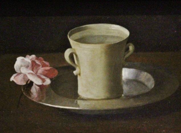 Una taza de agua y una rosa-Zurbarán